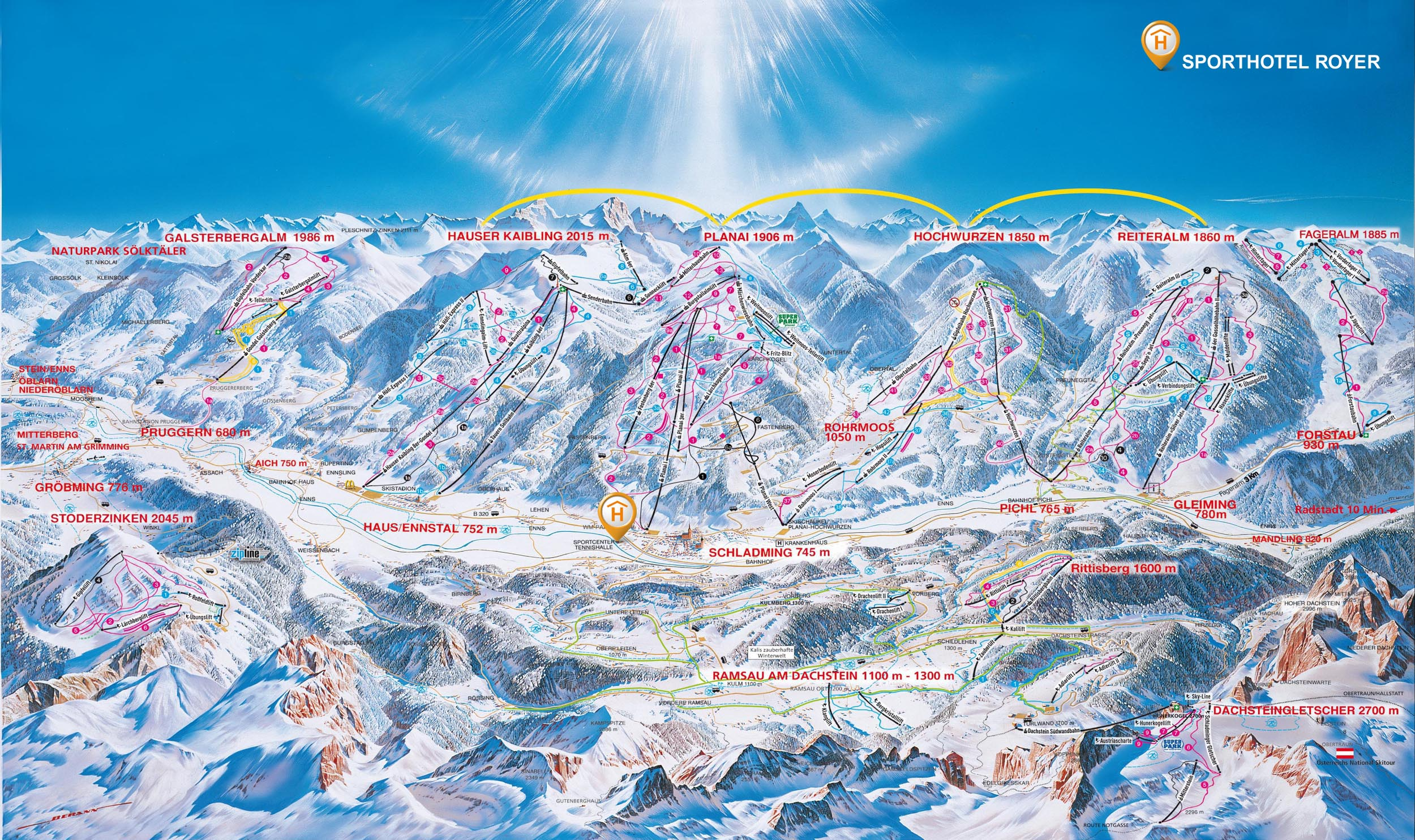 Schladming mapa tras and hotel