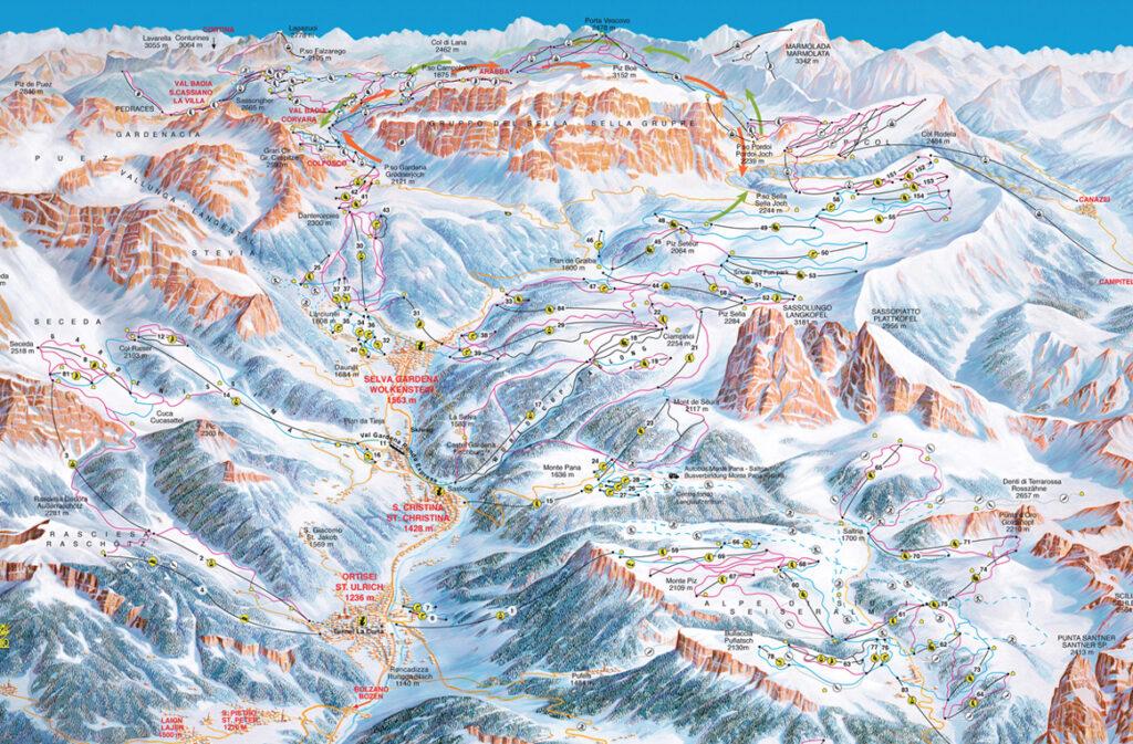 mapa tras Alpe di Siusi, Val Gardena
